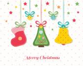Christmas card with needlecraft decorations. — Wektor stockowy