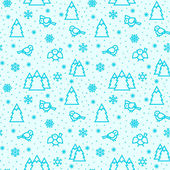 Seamless winter pattern with birds and trees. — Stock Vector
