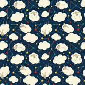 Seamless pattern with sheep, clouds and stars. — Stock Vector