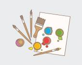 Art supplies: paint, brushes and paper. — Vector de stock