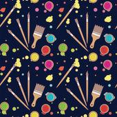 Vector seamless pattern of art supplies. — Stock Vector