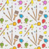 Paint and brushes seamless pattern. — Stock Vector