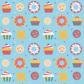 Seamless pattern with cakes, donuts and cookies. — Vettoriale Stock