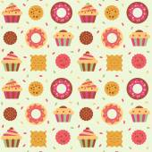 Seamless pattern with cakes, donuts and cookies. — ストックベクタ