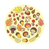 Group of mushrooms and autumn leaves. Vector illustration. — Stock Vector