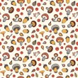 Autumn pattern with mushrooms, acorns and berries. — Stock Vector #61785355