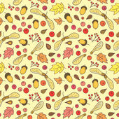 Autumn pattern with leaves, acorns, berries and maple seed pods. — Stockvektor