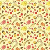 Autumn pattern with leaves, acorns, berries and maple seed pods. — Wektor stockowy