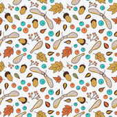 Seamless pattern with autumn leaves, acorns, berries and maple seed pods. — Stock vektor