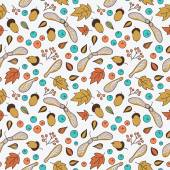 Seamless pattern with autumn leaves, acorns, berries and maple seed pods. — Stock Vector