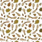 Autumn seamless pattern with leaves and maple seed pods. — Stock Vector
