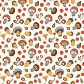 Autumn pattern with mushrooms, acorns and berries. — Stockvektor