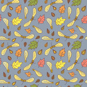 Autumn seamless background with leaves and maple seed pods. — Stock Vector
