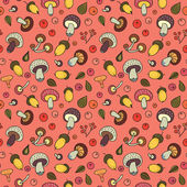 Autumn seamless pattern with mushrooms, acorns and berries. — Stockvektor
