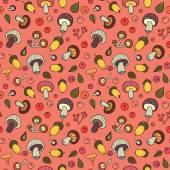 Autumn seamless pattern with mushrooms, acorns and berries. — Stock vektor
