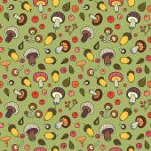 Autumn background with mushrooms, acorns and berries. — Stockvektor