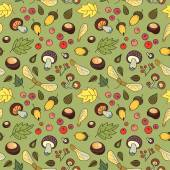 Autumn seamless pattern with mushrooms, leaves and berries. — Stock Vector