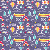 Seamless pattern with adventure travel icons. — Stock Vector