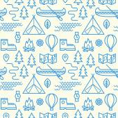 Camping, hiking and sailing in boat. Seamless pattern. — Stock Vector