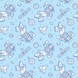 Постер, плакат: Stylish pattern with cute doodle astronauts spaceships and planets