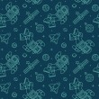 ������, ������: Seamless pattern with cute doodle astronauts spaceships and planets