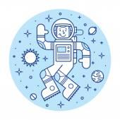 Astronaut in space. Hello spaceman. Vector illustration. — Stock Vector