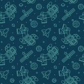 Seamless pattern with cute doodle astronauts, spaceships and planets. — Stock Vector