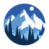 Snowy winter mountains. — Stock Vector