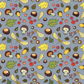 Autumn pattern with mushrooms, leaves, acorns and berries. — Vector de stock