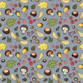 Autumn pattern with mushrooms, leaves, acorns and berries. — Stockvektor