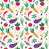 Assorted vegetables seamless pattern. — Stock Vector