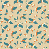 Seamless pattern with birds and letters. — Stock Vector