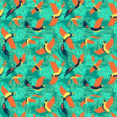 Seamless pattern with tropical birds and leaves. — Stock Vector