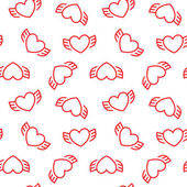 Abstract seamless pattern with hearts and wings. — Stock Vector
