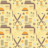 Seamless pattern with sewing accessories. — Stockvector