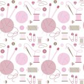 Seamless pattern with needlework accessories. — Vetorial Stock