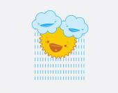 Illustration of cartoon clouds with raindrops and smiling sun. — Stock Vector