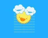 Illustration of cartoon clouds with raindrops and smiling sun in blue sky. — Stock Vector