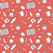 Seamless pattern with office supplies on red background. — Stock Vector