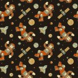 Постер, плакат: Seamless colorful pattern with cute doodle astronauts spaceships and planets