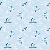 Vector seamless pattern with skiers and ski tracks. — Vector de stock