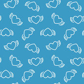 Abstract seamless pattern with hearts and wings. — Stockvector