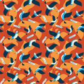 Seamless colorful flying birds pattern. — Stock Vector