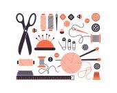 Vector sewing equipment and needlework icons set. — ストックベクタ