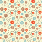 Seamless pattern with colorful buttons, needles and threads. — Stock Vector