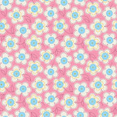 Seamless colorful pattern with buttons and flowers. — Stock Vector