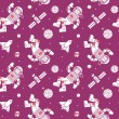 Постер, плакат: Seamless pattern with cute doodle astronauts spaceships and planets