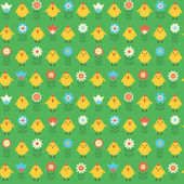 Seamless pattern with chicks and flowers. — Stock Vector