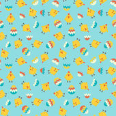 Seamless easter pattern with chicken and colorful eggs. — Stock Vector