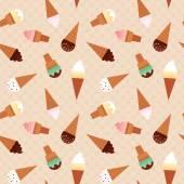 Ice cream cones seamless pattern. — Stock Vector